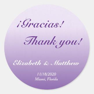 Bilingual Purple Ombre Wedding Thank You Sticker