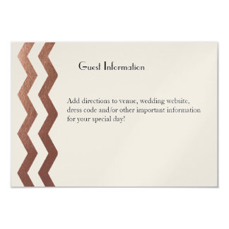 "Bilingual  Rose Gold Chevron Wedding Guestcard 3.5"" X 5"" Invitation Card"