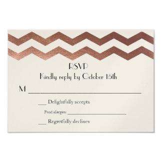 Bilingual Rose Gold Chevron Wedding InvitationRSVP 9 Cm X 13 Cm Invitation Card