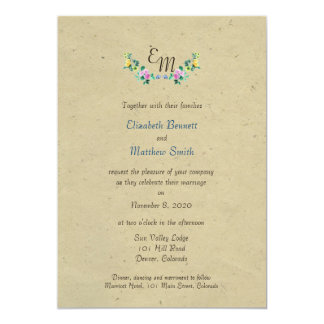 Bilingual Rustic Monogram Flower Wedding Invite