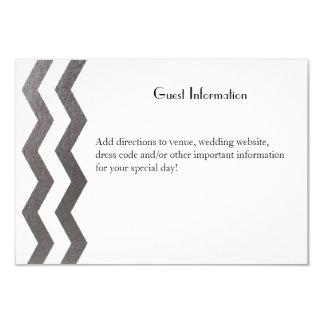 """Bilingual Silver Chevron Wedding Guestcard 3.5"""" X 5"""" Invitation Card"""