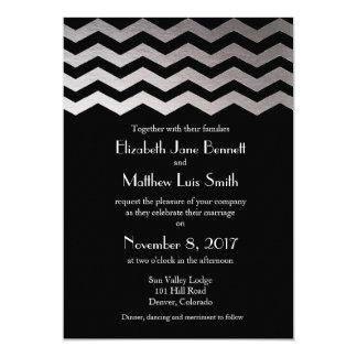 """Bilingual Silver Night Chevron Wedding Invitation 5"""" X 7"""" Invitation Card"""