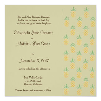 Bilingual Tropical Wedding Invitation Square