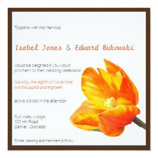 """Bilingual Tulip Wedding Invitation Square 5.25"""" Square Invitation Card"""