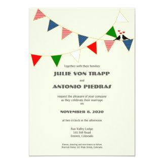 Bilingual US & Mexico Bunting Wedding Invitation
