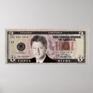 Bill Clinton $3 Bill Poster