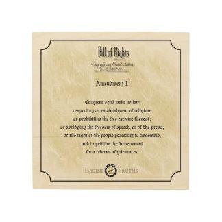 Bill of Rights - 1st Amendment rustic wall plaque Wood Prints