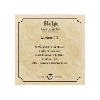 Bill of Rights - 3rd Amendment rustic wall plaque Wood Print