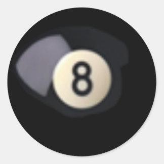 Billard Ball 8 Classic Round Sticker
