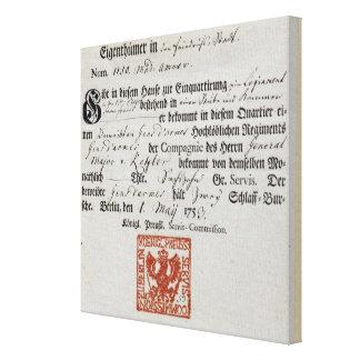 Billeting voucher, 1759 canvas print