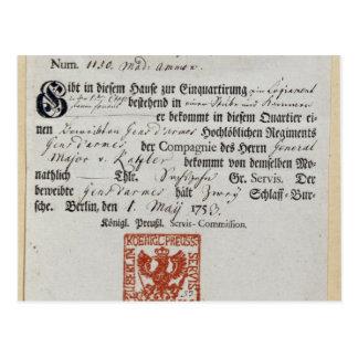 Billeting voucher, 1759 postcard