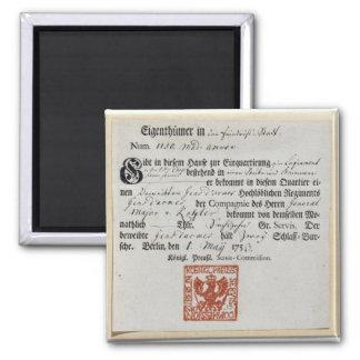 Billeting voucher, 1759 square magnet