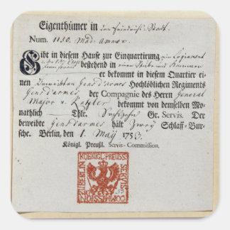 Billeting voucher, 1759 square sticker