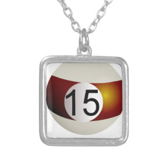 Billiard ball 15 silver plated necklace