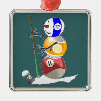 Billiard Ball Snowman Metal Ornament
