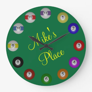 Billiard Ball with Name Text Large Clock