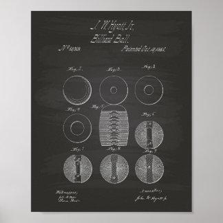 Billiard Balls 1865 Patent Art - Chalkboard Poster
