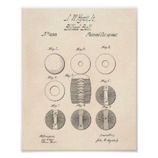 Billiard Balls 1865 Patent Art - Old Peper Poster