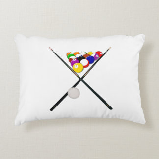 Billiard Balls and Pool Cues Decorative Cushion