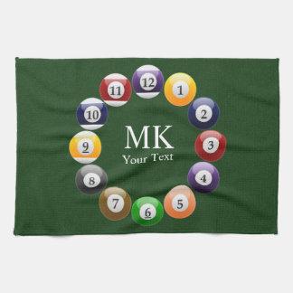 Billiard Balls Shiny Colorful Pool Snooker Sports Tea Towel