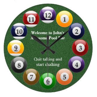 Billiard Balls Shiny Colourful Pool Snooker Sports Large Clock