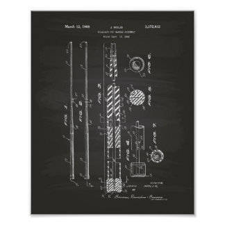 Billiard Cue Handle 1968 Patent Art - Chalkboard Poster