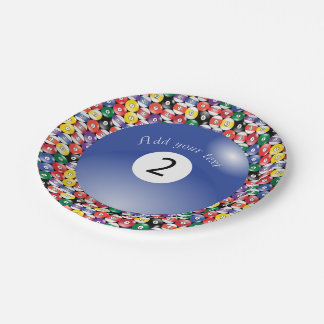 Billiard Pool Balls Solid Number Two 7 Inch Paper Plate