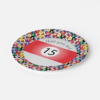 Billiard Pool Balls Stripe Number Fifteen 7 Inch Paper Plate