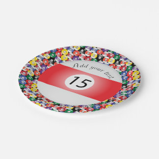 Billiard Pool Balls Stripe Number Fifteen Paper Plate