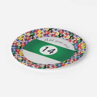 Billiard Pool Balls Stripe Number Fourteen 7 Inch Paper Plate