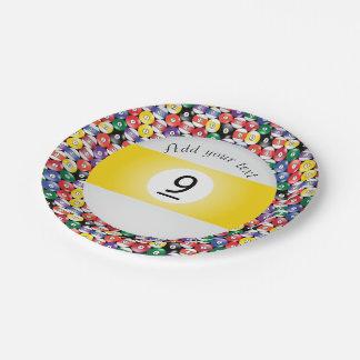 Billiard Pool Balls Stripe Number Nine Paper Plate
