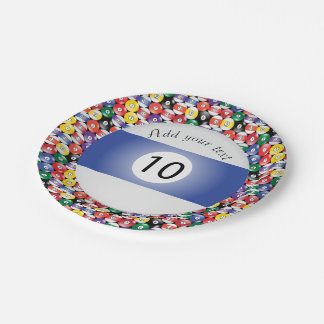 Billiard Pool Balls Stripe Number Ten 7 Inch Paper Plate