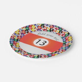 Billiard Pool Balls Stripe Number Thirteen Paper Plate