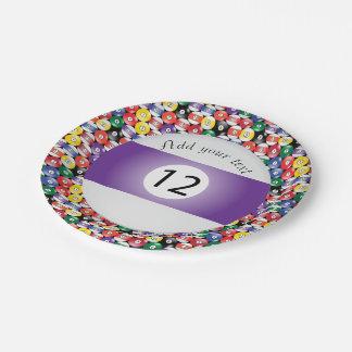 Billiard Pool Balls Stripe Number Twelve Paper Plate