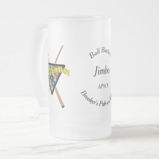 Billiard Rack and Sticks League Player Frosted Glass Beer Mug