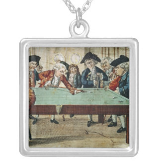 Billiards, 18th century etching by R.Sayer Silver Plated Necklace