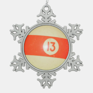 Billiards Ball #13 Snowflake Pewter Christmas Ornament
