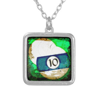 BILLIARDS BALL NUMBER 10 SILVER PLATED NECKLACE