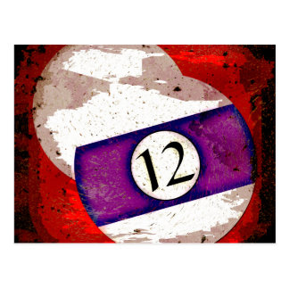 BILLIARDS BALL NUMBER 12 POSTCARD