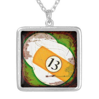 BILLIARDS BALL NUMBER 13 SILVER PLATED NECKLACE