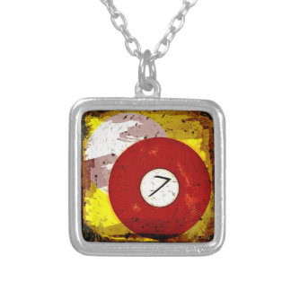 BILLIARDS BALL NUMBER 7 SILVER PLATED NECKLACE