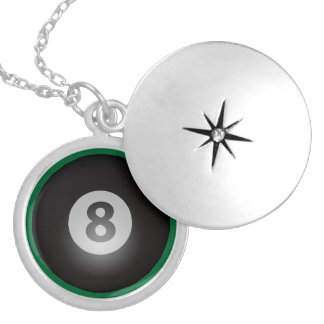 Billiards Eight Ball Silver Plated Necklace