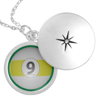 Billiards Nine Ball Silver Plated Necklace