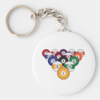 Billiards / Pool Balls: Basic Round Button Key Ring