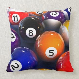 Billiards Pool Balls Square Throw Pillow
