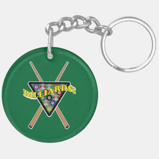 Billiards Rack with Sticks League Info Key Ring