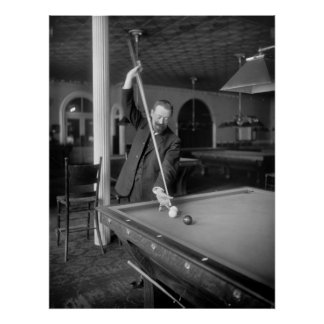 Billiards Trick Shot, early 1900s Poster