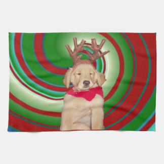 billie-the-golden-reindeer tea towel