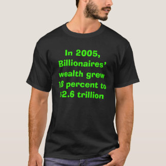 Billionaires wealth grew and Bush cut their taxes  T-Shirt