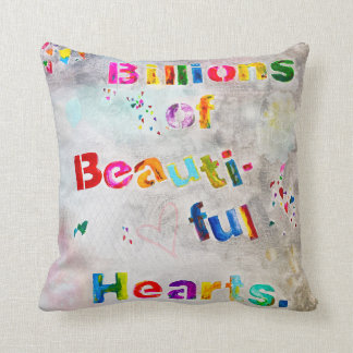 Billions of Beautiful Hearts Pillow - grey